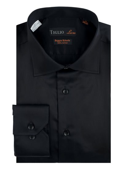 Black Dress Shirt, Regular Cuff, by Tiglio Genova RC TIG3014