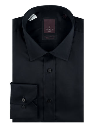 Black Slim Fit Shirt, Barrel Cuff, by Tiglio Slim Fit RC TIG3014