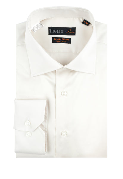 Off White Dress Shirt, Regular Cuff, by Tiglio Genova TIG3015