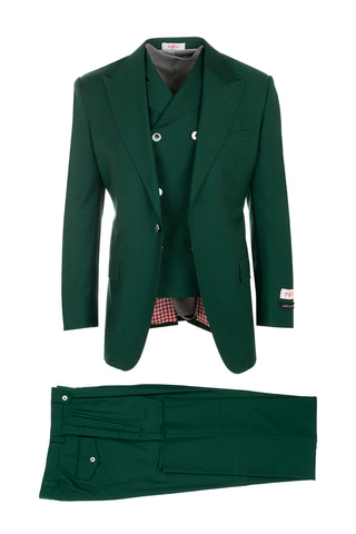 San Giovesse Forest Green, Pure Wool, Wide Leg Suit & Vest by Tiglio Rosso TIG4501