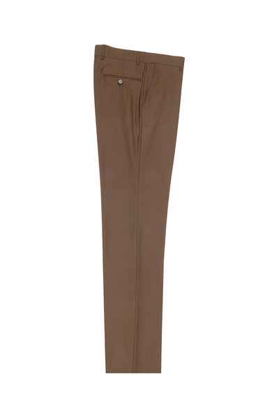 Tobacco Flat Front Wool Dress Pant 2560 by Tiglio Luxe TOBACCO