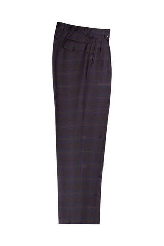 Black and Blue Plaid Wide Leg Wool Dress Pant 2586/2576 by Tiglio Luxe TS1002