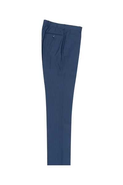 New Blue Flat Front Wool Dress Pant 2560 by Tiglio Luxe TS4066/2