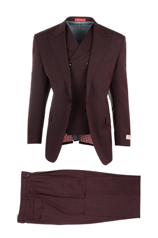 San Giovesse Burgundy with Black Check Pattern Suit & Vest by Tiglio Rosso TS5229/4
