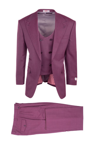 Luca Rosé, Pure Wool, Wide Leg Suit & Vest by Tiglio Rosso TS6093/2