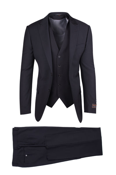 Tufo Black, Modern Fit, Pure Wool Suit & Vest by Tiglio Luxe TIG1001