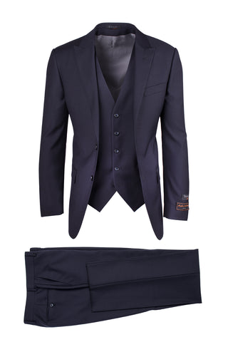 Tufo Navy, Modern Fit, Pure Wool Suit & Vest by Tiglio Luxe TIG1002