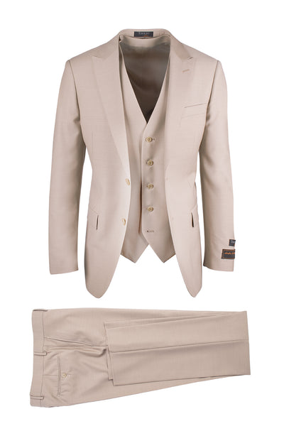 Tufo Tan, Modern Fit, Pure Wool Suit & Vest by Tiglio Luxe TIG1004
