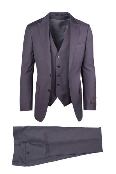 Tufo Gray, Modern Fit, Pure Wool Suit & Vest by Tiglio Luxe TIG1008