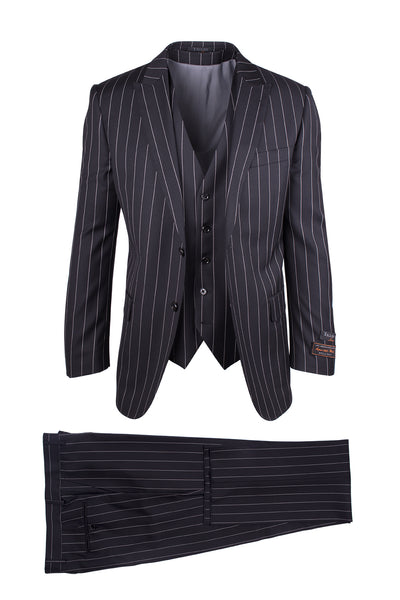 Tufo Black Pinstripe, Modern Fit, Pure Wool Suit & Vest by Tiglio Luxe TIG1052