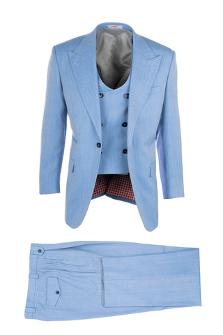 Luca Light Blue, Pure Wool, Wide Leg Suit & Vest by Tiglio Rosso V844.958/110