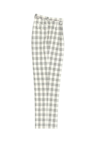 Offwhite with Black Windowpane Wide Leg, Wool Dress Pant 2586/2576 by Tiglio Luxe V986.4136/1