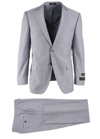 Novello Light Gray Herringbone, Modern Fit, Pure Wool Suit by Tiglio Luxe 12A005