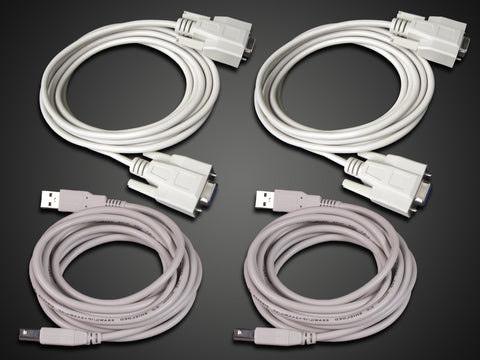 Communication Cables - 2 RS-232 serial cables, 2 standard USB A-B cables