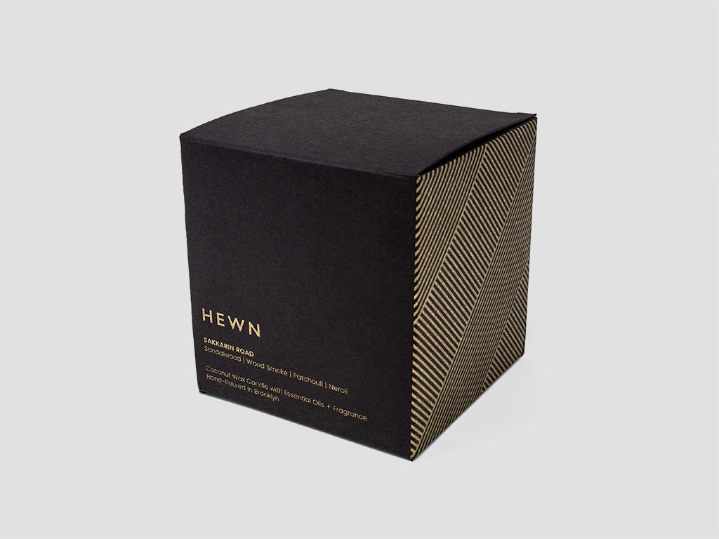 HEWN Sakkarin Road 9 oz. Black Glass Candle Packaging