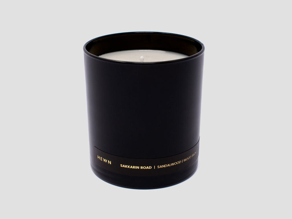 HEWN Sakkarin Road 9 oz. Black Glass Candle