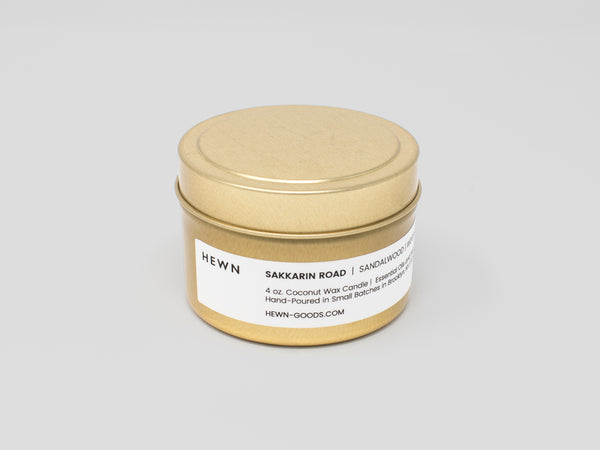 HEWN Sakkarin Road 4 oz. Gold Tin Travel Candle
