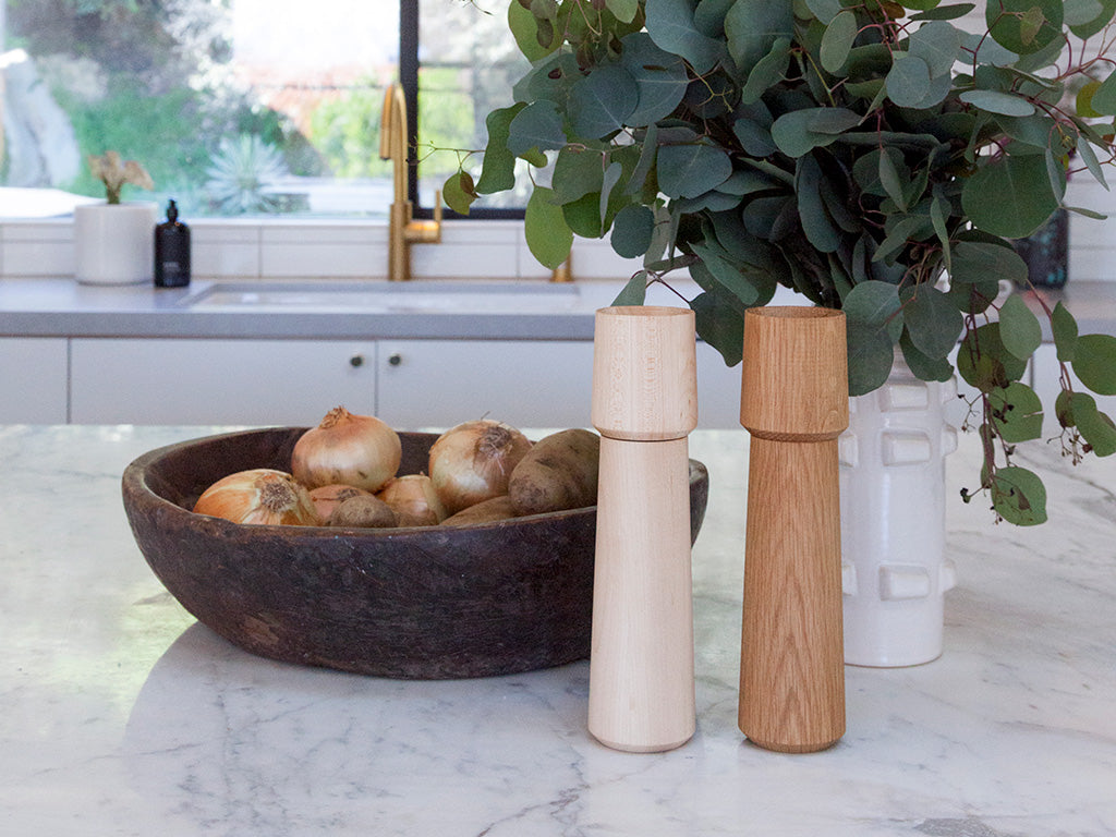 HEWN White Oak and Maple Crown Pepper Mills