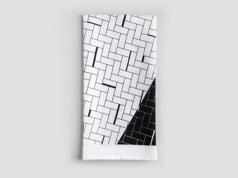 HEWN Split Weave Linen Tea Towel in Black
