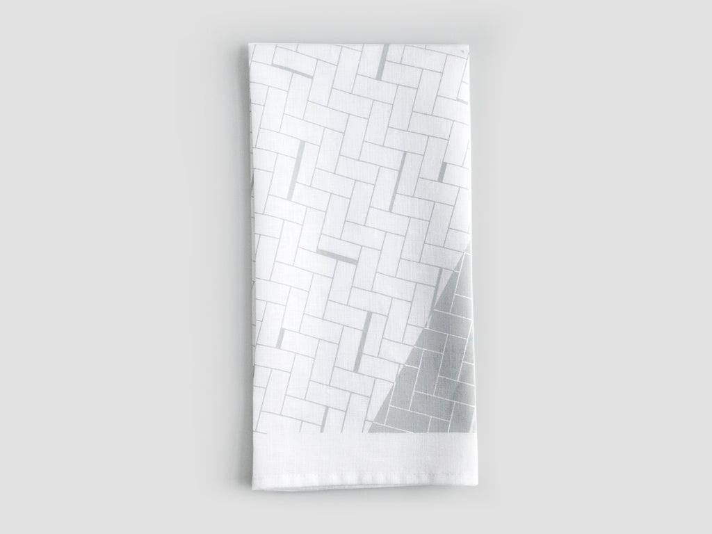 HEWN Split Weave Linen Tea Towel in Grey