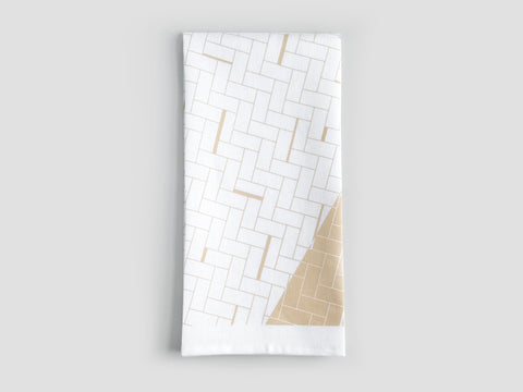HEWN Split Weave Linen Tea Towel in Sand
