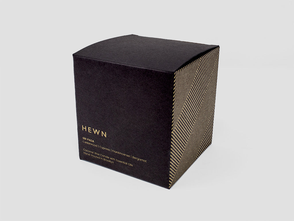 HEWN Sri Pada 9 oz. Black Glass Candle Packaging