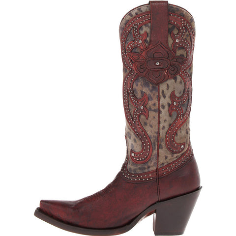 Ladies Lucchese M4802.S53F Antique Red Tooled Petal with Cheetah Inlays and Rhinestones