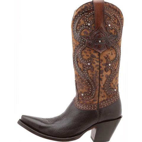 Ladies Lucchese M4800.S53F Espresso Tooled Petal with Cheetah Inlays and Rhinestones