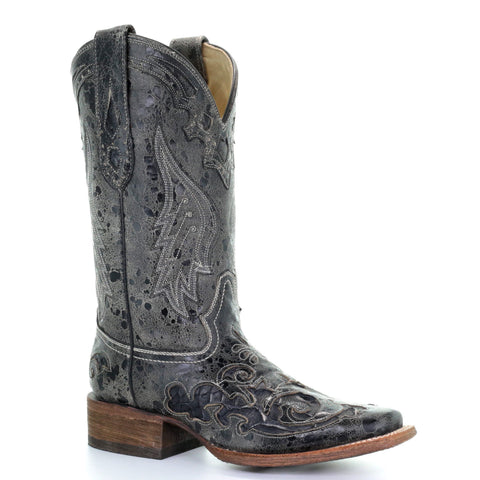 Ladies Corral A2402 Black Snake Inlay Boots