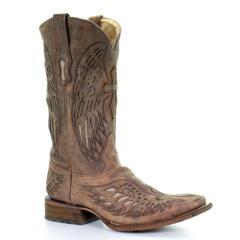 Men's Corral A2871 Distressed Brown Wing and Cross