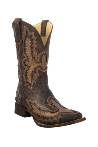 Men's Corral C3100 Distressed Chocolate with Tan Inlays