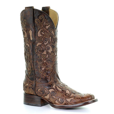 Ladies Corral A3326 Brown Inlay and Stud Boot