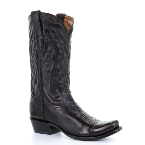 Men's Corral A3447 Black Cherry Embroidery Narrow Toe