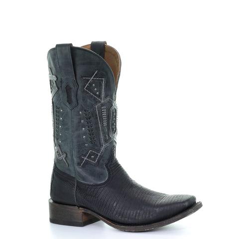 Men's Corral A3629 Black Lizard Exotics