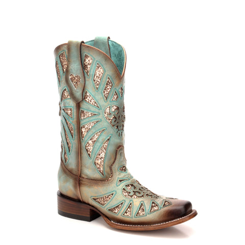Ladies Corral C3262 Mint Glitter Inlay Square Toe