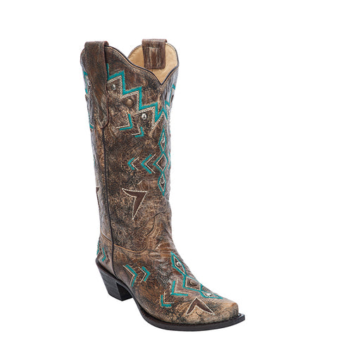 Ladies Corral E1014 Bronze and Turquoise Western Stitched