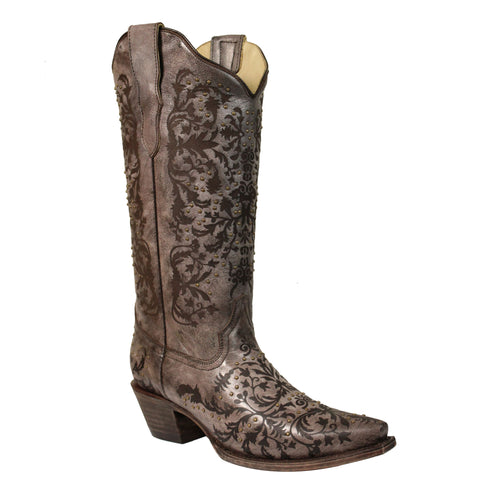 Ladies Corral E1195 Brown Studded Snip Toe