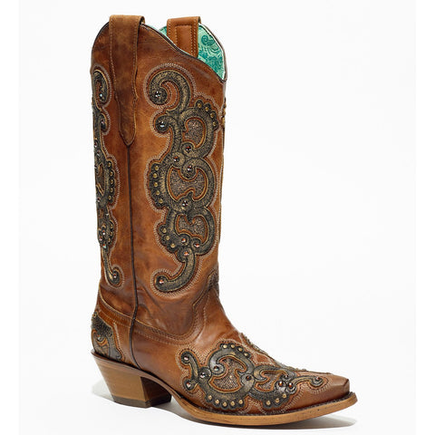 Ladies Corral E1508 Honey Overlay Embroidered Boots
