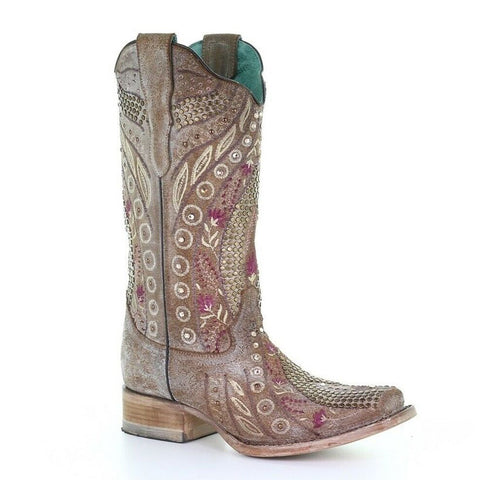 Ladies Corral E1520 Taupe floral with Crystals and Studs