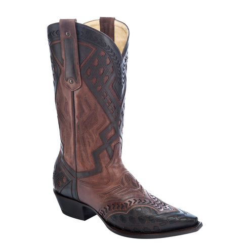 Men's Corral G1277 Tobacco and Black Inlaid Boots