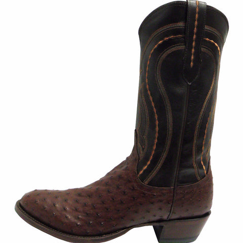Men's Lucchese M1607.R4 Sienna Full Quill Ostrich with Dark Brown Derby Calf