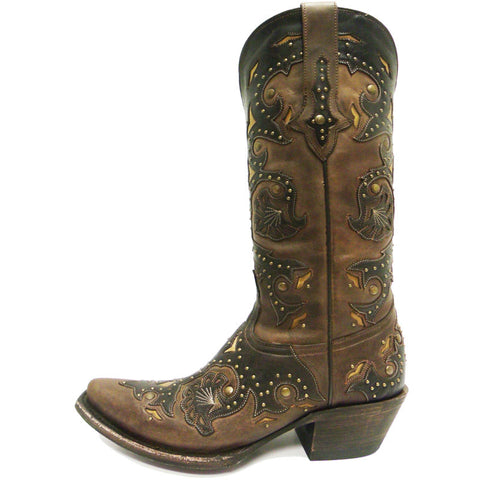 Ladies Lucchese M5015.S54 Studded Scarlette and Cafe Brown Calfskin