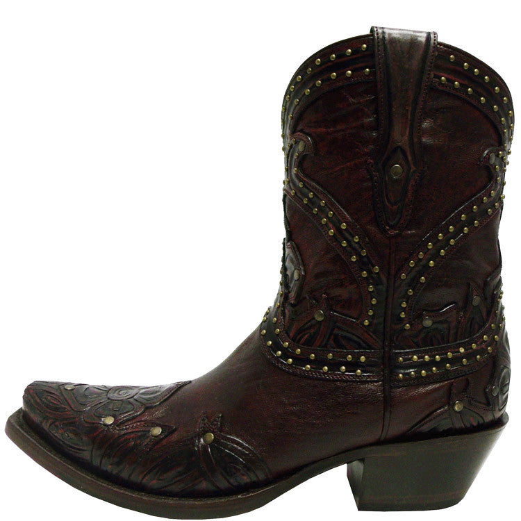 78ad28c3332 Ladies Lucchese M4812.S54 Red Tooled Booties