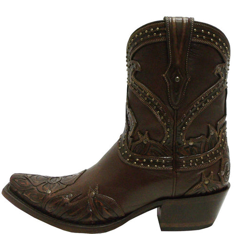Ladies Lucchese M4811.S54 Tan Rose Booties with Studding and Hand Tooled Petals
