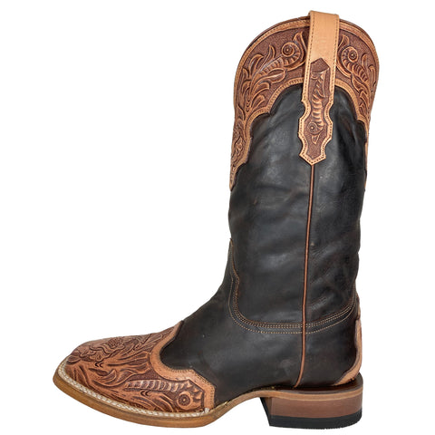 Stetson Chocolate Hand Tooled Square Toe