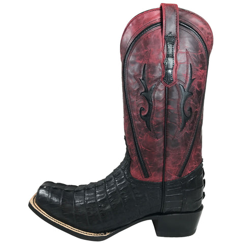 Men's Vaccari Black Caiman Tail NS Toe VMX102