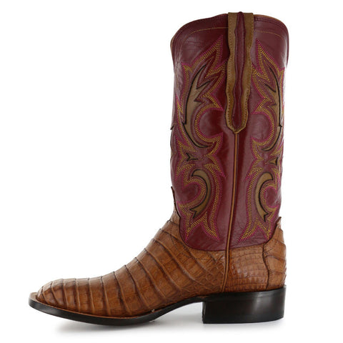 Lucchese M2679 Tan and Wine Shiloh Caiman Belly