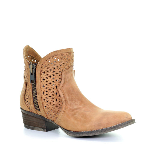 Ladies Circle G by Corral Q0002 Tan Cutout Booties