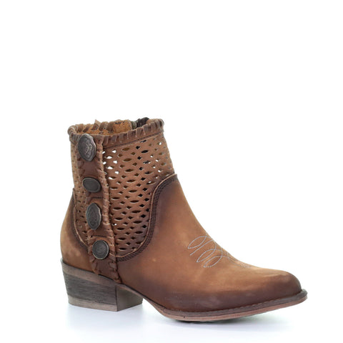 Ladies Circle G by Corral Q0118 Chocolate Cutout Stud Booties