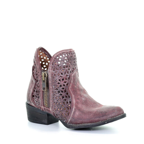 Ladies circle G by Corral Q5063 Wine Cutout Booties